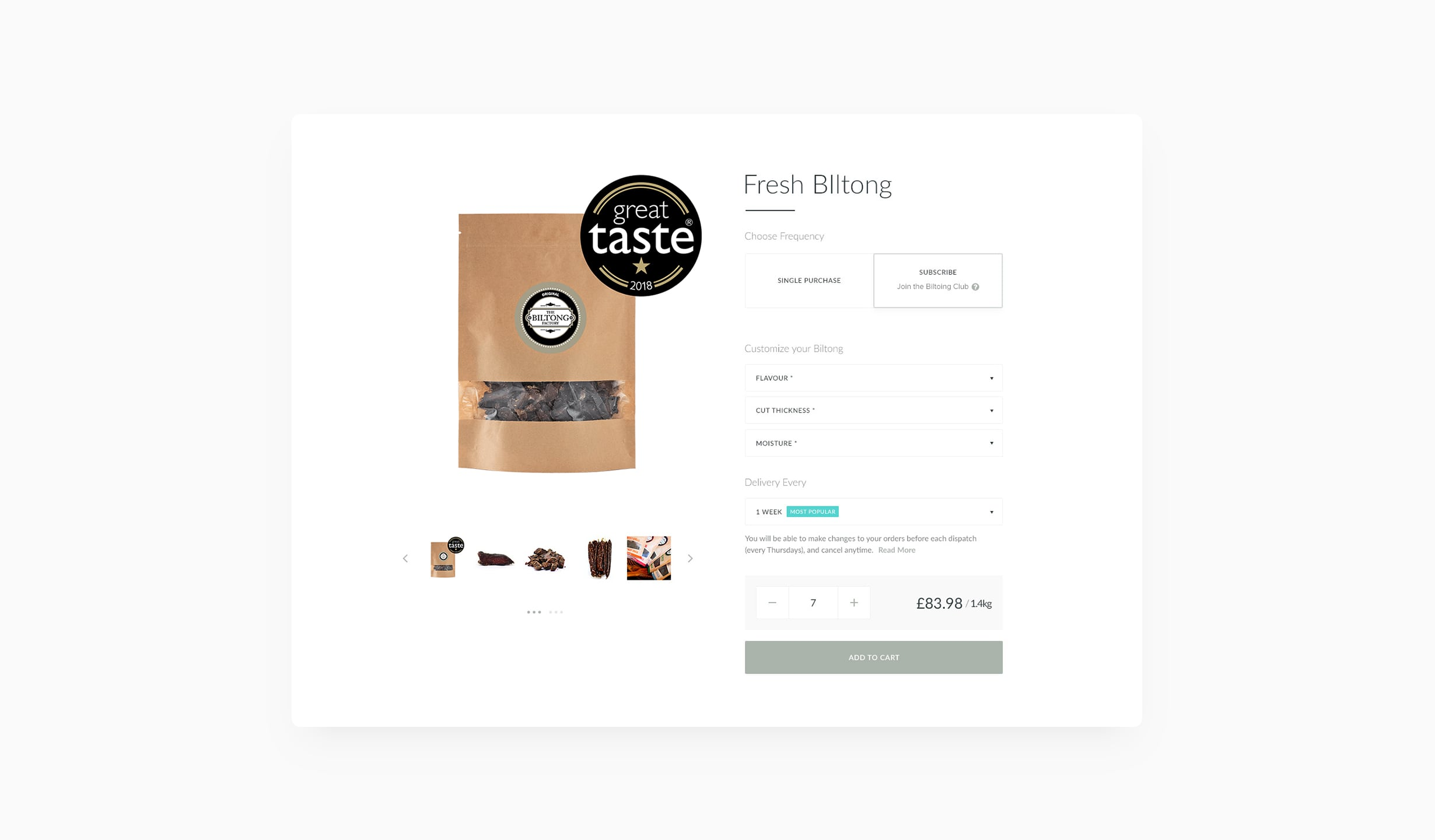 The Biltong Factory Product Detail Page Portfolio Shot